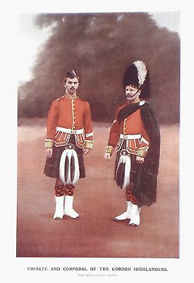 OLD ANTIQUE PRINT GORDON HIGHLANDERS PRIVATE & CORPORAL c1900 MILITARY BOER WAR