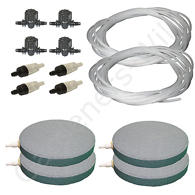 "6"" 15cm AIR STONE KIT 4x DIFFUSER +VALVES +NON RETURN +20m PIPE hydroponic pond"