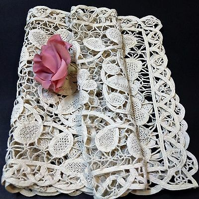Ecru Cotton Crocheted Doily Sideboard / Table Runner - 39 x 76 cm