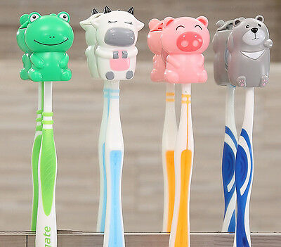 Kids Cartoon Animal Suction Sucker Cup Cover Toothbrush Wall Holder 4 Designs
