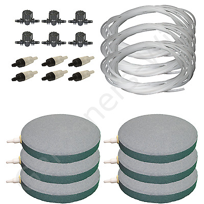 "6"" 15cm AIR STONE KIT 6x DIFFUSER +VALVES +NON RETURN +30m PIPE hydroponic pond"