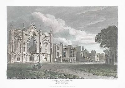 OLD ANTIQUE PRINT NEWSTEAD ABBEY NOTTINGHAMSHIRE LORD BYRON c1815 ENGRAVING