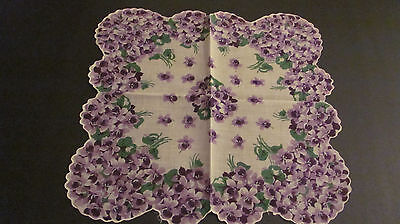Vintage Purple Violets Bouquets Scalloped Ladies Cotton Hankie 13""