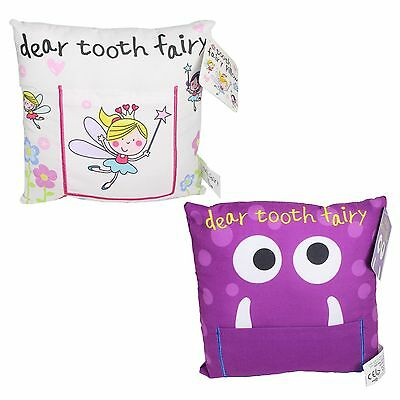 Tooth Fairy Cushion / Pillow with Pocket 20cm x 20cm - Monster or Fairies