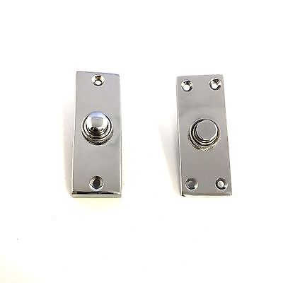 Solid Polished Chrome Victorian Door Bell Chime Push Button Press