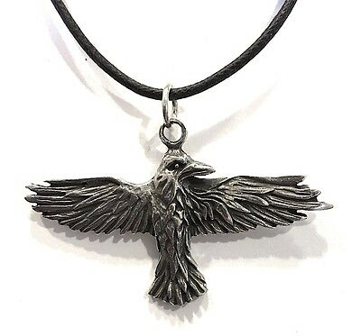 Raven Celtic Prophesy Morrigan Bird Pewter Pendant Charm Necklace