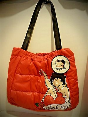"Betty Boop Red Tote Bag Purse ""Rock Me"" Hearts Roses NWT"