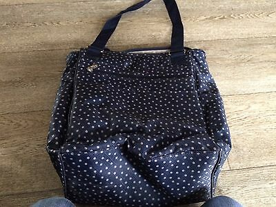 thirty one 31 Take Two Utility Backpack/Tote Bag Retired- navy dancing dots