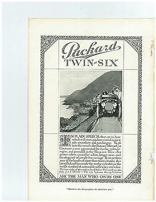 1916 Packard Twin Six Car on Narrow Road By Shore Full Page Original Print Ad
