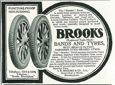 1906 Brooks Bands and Tyres Non Skidding Vintage Original Print Ad