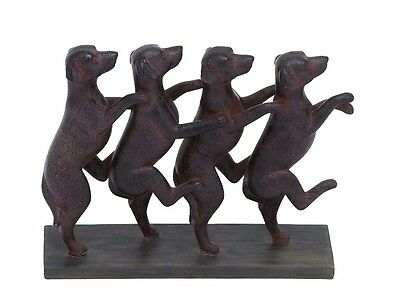 Sculpture of Four Dogs Standing a Row Rich Brown Pet Lover Decor 78824