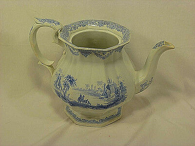 Antique Staffordshire Blue Transferware Teapot - Mid-1800's