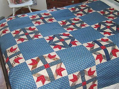 """Very Extraordinary Antique Blue Red Goose Tracks Quilt TOP 70X84"""""""
