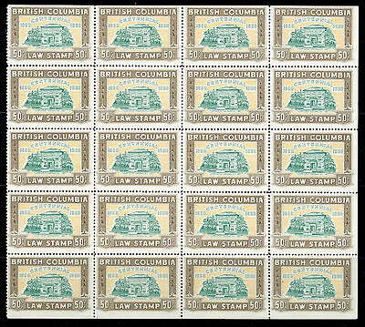 Weeda BCL48 VF MNH partial pane of 20, 1958 BC Law Stamps 50c brown CV $875