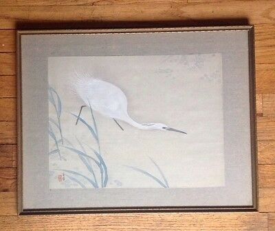Original Japanese Mejii Period Crane Painting on Silk Signed (1868-1912)