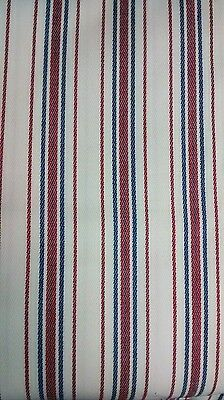 Leiter's Designer Fabric Suiting Wool Poly Blend Red Blue Stripe 3 Yards