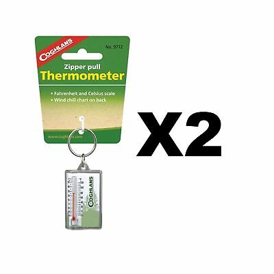 Coghlan's Zipper Pull Thermometer Fahrenheit & Celsius & Windchill Chart(2-Pack)