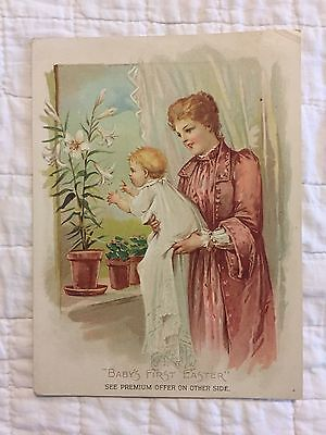 "Woolson Spice Co. Trade Card, ""Baby's First Easter"", Toledo, OH"
