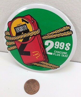 Vintage Mcdonalds Quartz Canadian button pinback badge collectible advertising