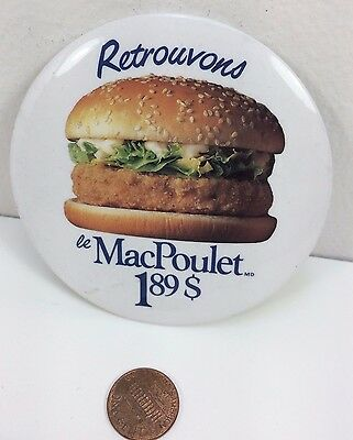 Vintage Mcdonalds Rediscover McChicken Canadian button pinback badge advertising