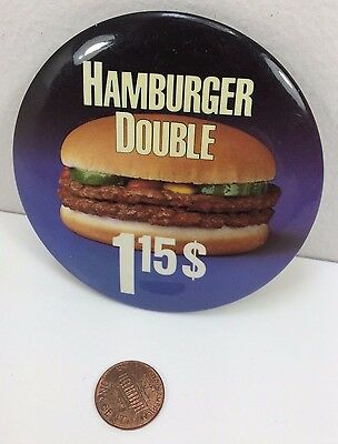 Vintage Mcdonalds Double Hamburger Canadian button pinback badge advertising