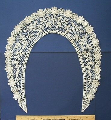 Antique Point de Neige Venetian Handmade Needlelace Collar 19thc. Large