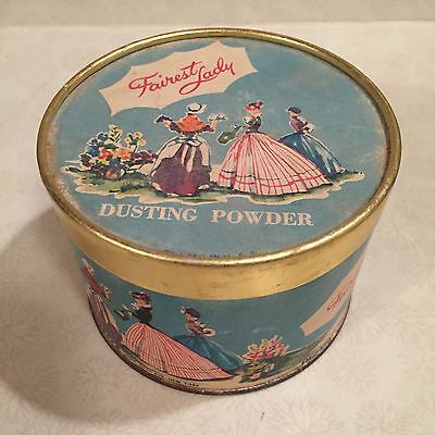 Lander FAIREST LADY Dusting Powder Cardboard & Tin Container, 1/2 Full