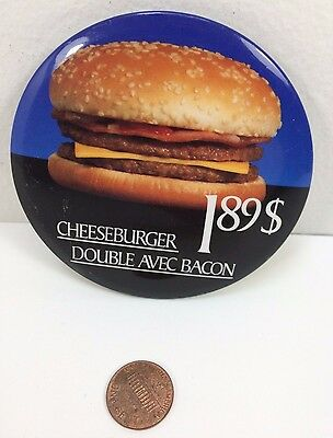 Vintage Mcdonalds Double Bacon Cheeseburger Canadian button pinback badge ads