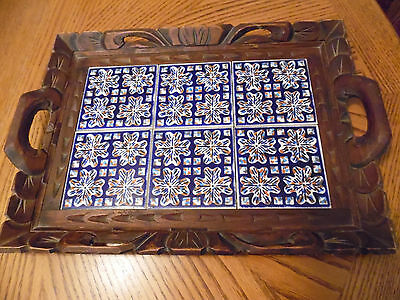 Handcarved/Handmade Mexican Wood & Tile Tray With Handles