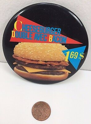 Vintage Mcdonalds Double Bacon Cheeseburger 1.69 Canadian button pinback badge