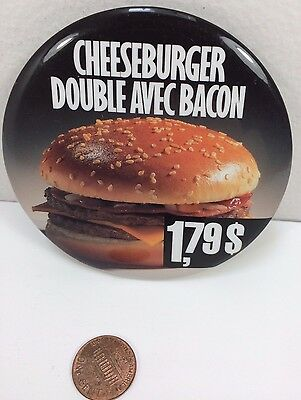 Vintage Mcdonalds Double Bacon Cheeseburger 1.79 Canadian button pinback badge