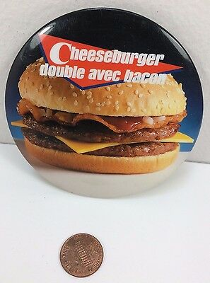 Vintage Mcdonalds Double Bacon Cheeseburger Canadian button pinback badge retro