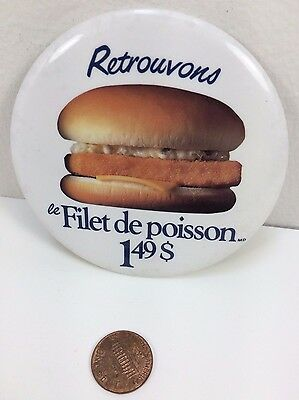 Vintage Mcdonalds Filet-O-Fish Canadian button pinback badge advertising