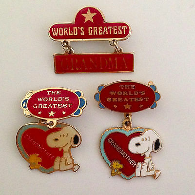 Snoopy Awards - Mostly Vintage Peanuts World's Greatest Grandmother Pins