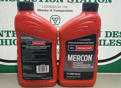 Lot of 2 - 946ml (1 Quart) Bottles Ford Motorcraft Mercon V Transmission Fluid