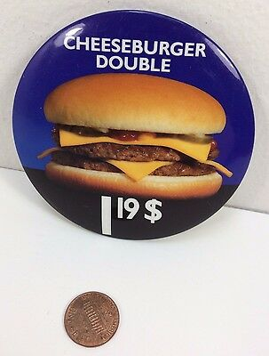 Vintage Mcdonalds Double Cheeseburger Canadian button pinback badge advertising