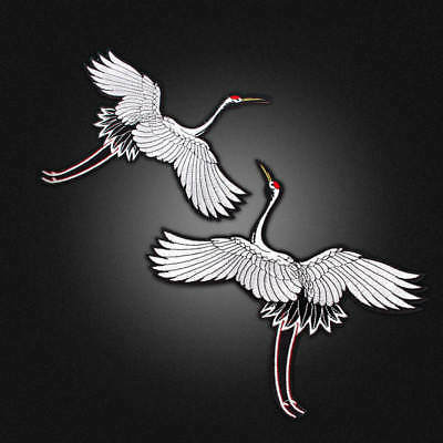 2PCS Patch Bird Applique Sew on Patch Red-crowned Crane Embroidered For Clothing