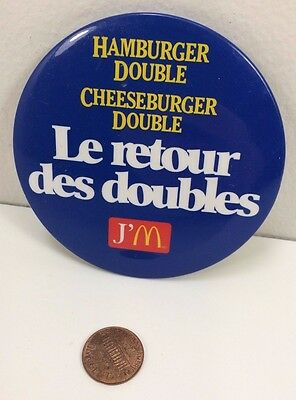 Vintage Mcdonalds Double Cheeseburger Hamburger Canadian button pinback badge jm