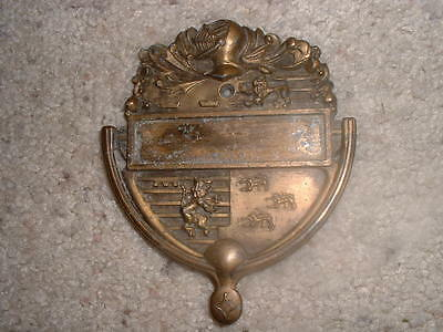 """Vintage ornate copper door knocker 5"""" high X 4"""" wide has name plate in middle"""
