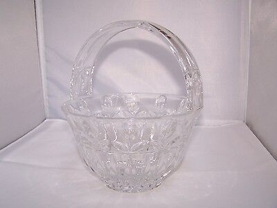 """Waterford? Large Lead Crystal Basket, 8"""" High x 7"""" Dia., Weighs over 3 pounds"""
