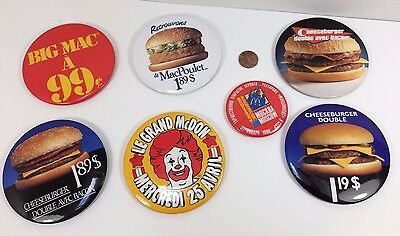 Lot Bundle 7 Vintage Mcdonalds Canadian button pinback badge pins advertising