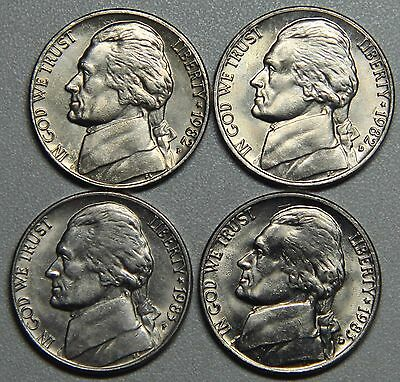 1982-1983 P and D Jefferson Nickel Set BU-4 Coins!
