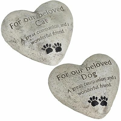 Heart Shaped Memorial Plaque Memory Stone - Our Beloved Dog / Cat