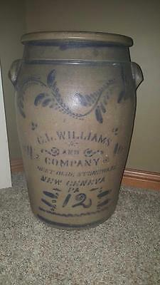 12 Gallon ~ C. L. Williams and Co. ~ Best Blue Stoneware ~ New Geneva Pa. Crock