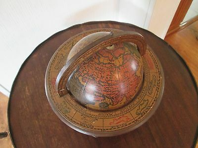 """Vintage Wooden Spinning 11"""" Desk Globe With Stand - Zodiac Latin - Made in Italy"""