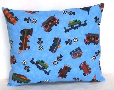 Trains Toddler Pillow on Blue Cotton T3-37P New Handmade