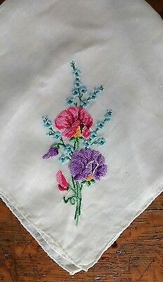 Vintage Petit Point Hand Embroidered Floral Handkerchief Hankie