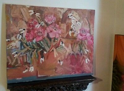 Vintage Large Abstract Floral Original Painting on Canvas* Signed Acrylic