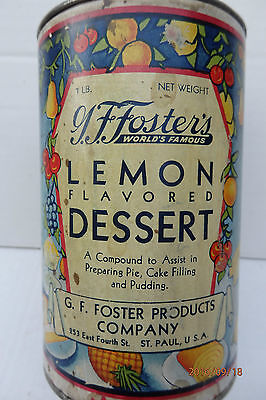 G.F. Foster's St. Paul MN Lemon Dessert Pie/Cake filling,spice Graphic full tin