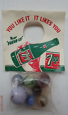 1950's  7 Up Soda Bag of Marbles New Old Stock, You Like It It Likes You